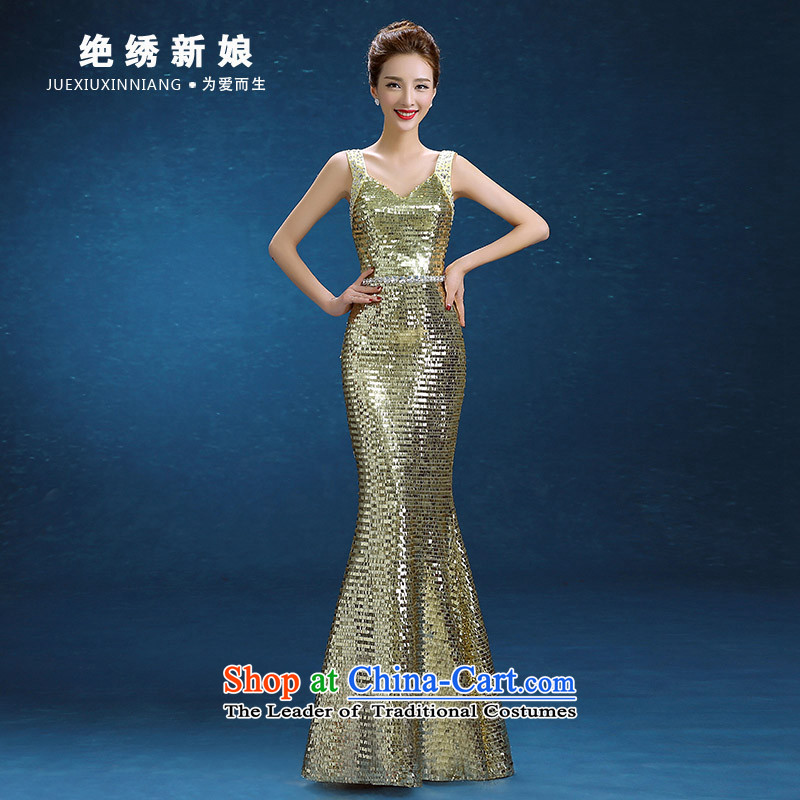 2015 WINTER new Korean word long shoulder larger video thin evening dresses bride banquet dinner dress Army Green聽M聽Suzhou Shipment