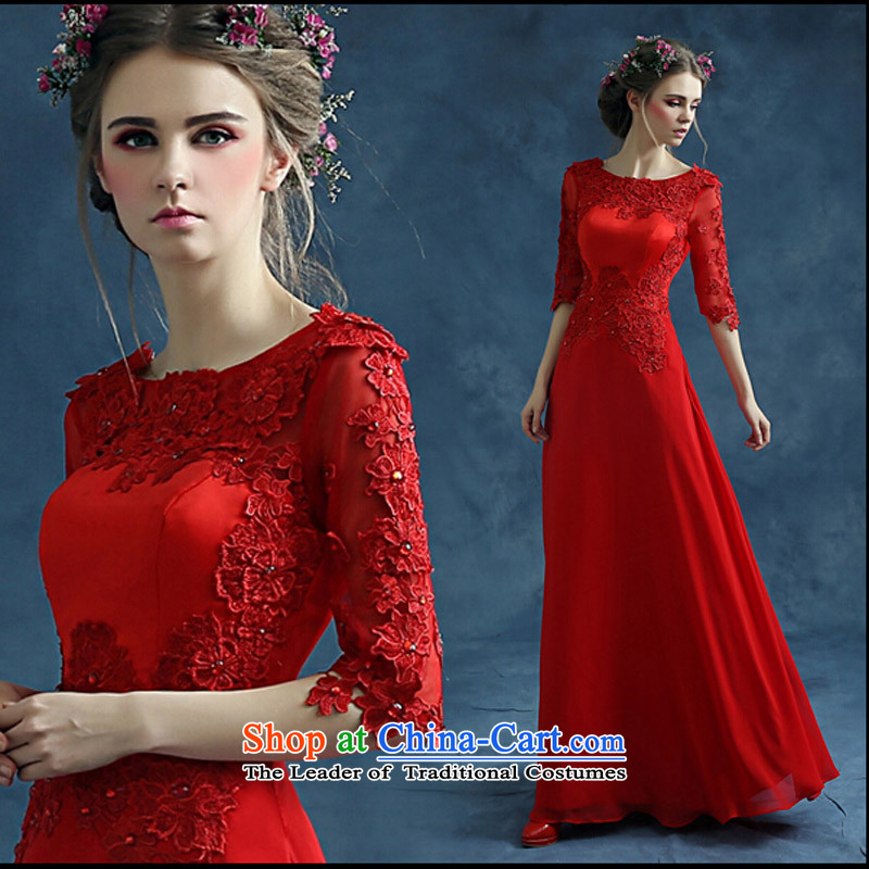 Pure Love bamboo yarn banquet evening dresses of the new spring 2015 stylish bride red dress bows services pregnant women long Ultra video thin red tailored please contact Customer Service