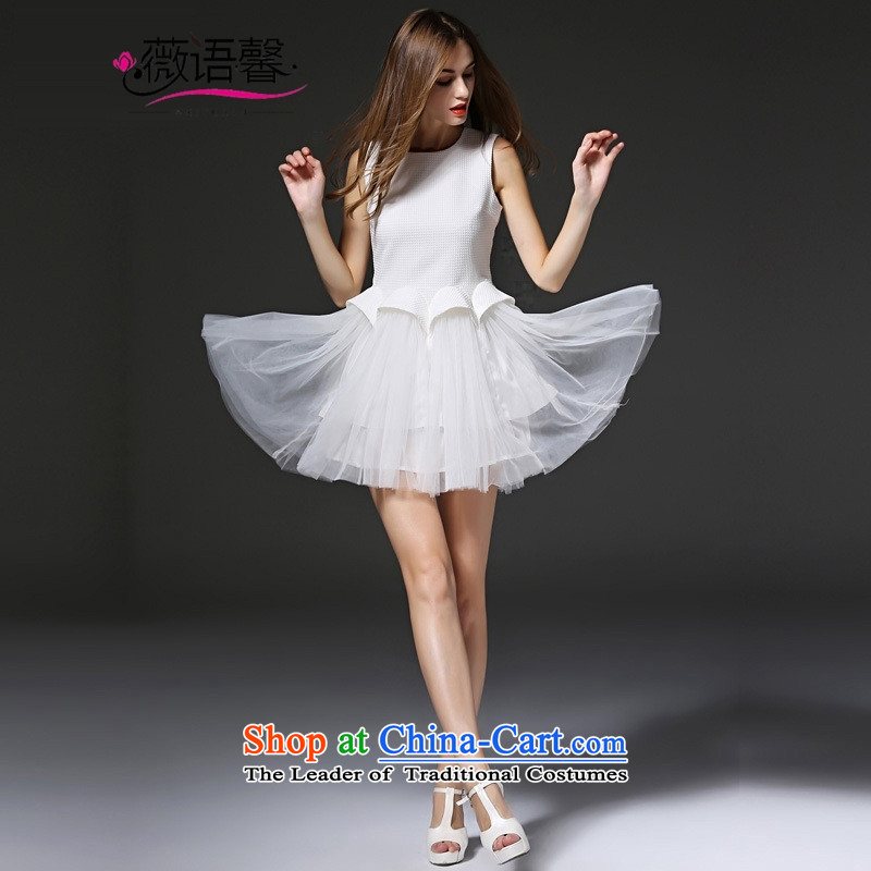 Optimize fruit shop banquet dress bell 2015 autumn and winter new madame bows and the relatively short time of service bridesmaid sister married skirt small service dress white聽S