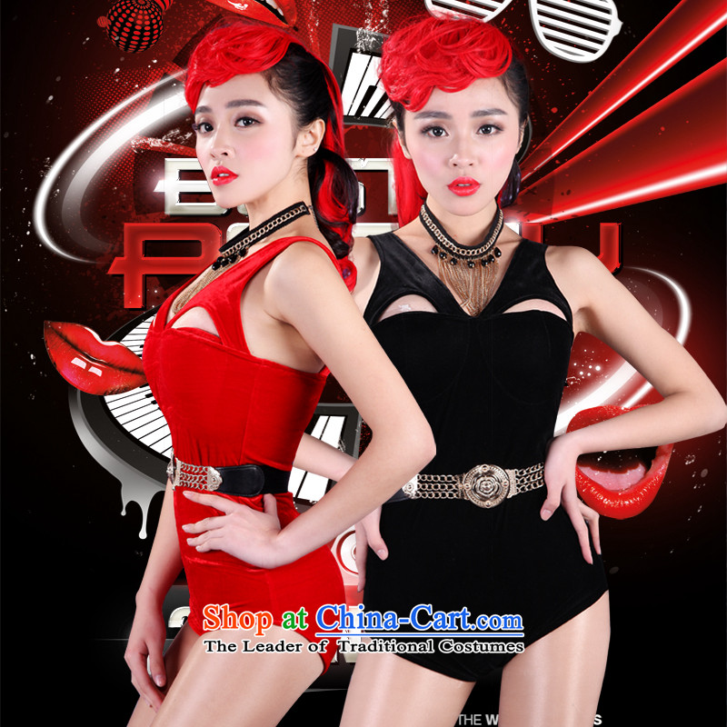 The 2015 new western bars nightclubs new DS female singer stage costumes DJ scouring pads engraving cats ear Strap-bar will show a night club services are black code