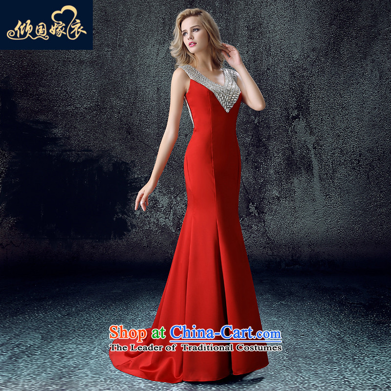 Toasting champagne bride services 2015 new women's autumn and winter shoulders long betrothal wedding dress crowsfoot banquet evening dresses wine red?S