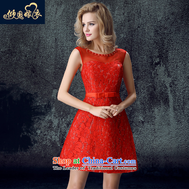 Toasting champagne bride services 2015 new women's autumn and winter field shoulder bags shoulder short of the betrothal wedding dress banquet evening dresses red�L