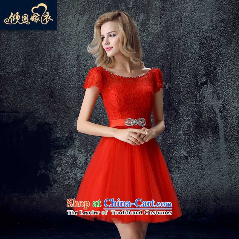 Toasting champagne bride services 2015 new women's autumn and winter field shoulder bags shoulder short of the betrothal wedding dress banquet evening dresses red?XXL