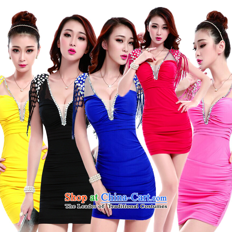 The 2015 New Muzu bath sauna technicians working dress nightclubs Sau San package arm dresses night sexy female air hostesses with Mr Ronald sexy uniforms temptation of yellow?L