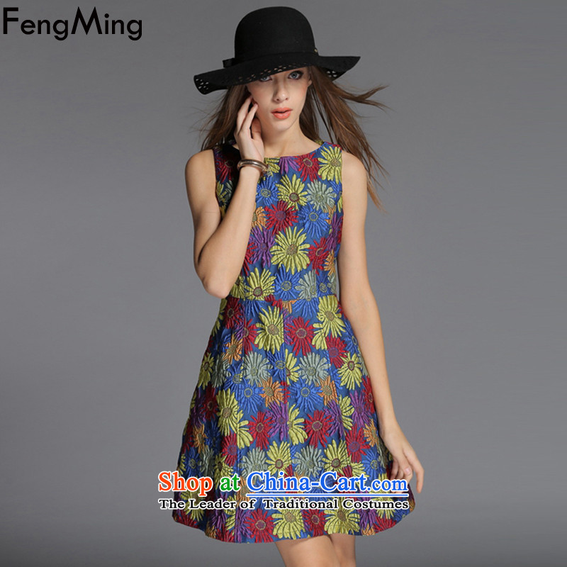 Hsbc Holdings plc Ming?autumn and winter 2015 vest skirt) with stars dress stereo flowers Sau San dresses Dark Blue?M