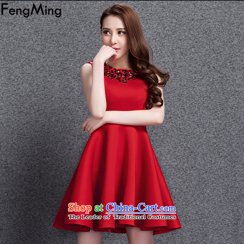 Hsbc Holdings plc European Large Site Ming vest skirt autumn and winter 2015 annual meeting of the small dress uniform bride space on-chip cotton dress red XL