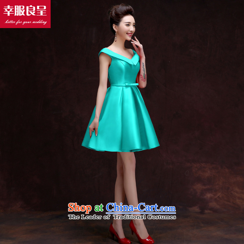 The privilege of serving-leung bows services new short, 2015 Red slotted shoulder bridesmaid to serve small in female dress and sisters into wine service light blue?L