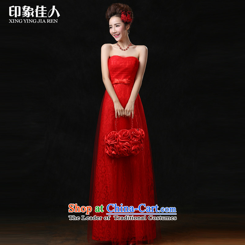 The new 2015 better impression stylish anointed chest lace dress brides Sau San wedding dress red bride bows services long red can be made?M