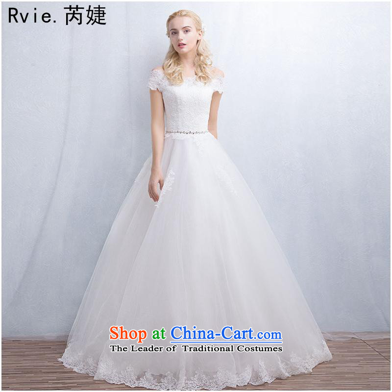 The 2015 autumn and winter new Korean minimalist bride shoulders and chest lace graphics to align the word thin shoulders wedding dress White聽XL