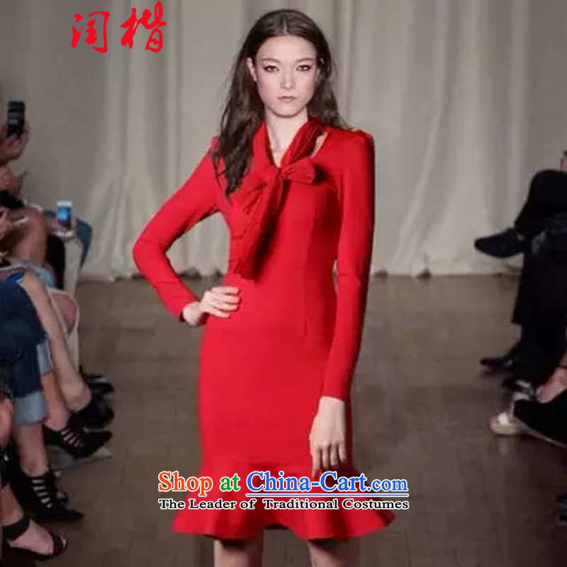 Leap 916#2015 Kai Ying Yang spring bow ties with long-sleeved Sau San package and crowsfoot skirt dresses dress skirt red?L