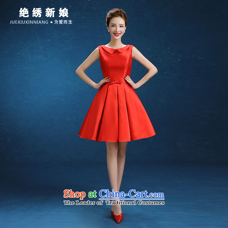 Marriages bows services Korean word lace shoulder Red Dress Short of Sau San 2015 autumn and winter new RED?M