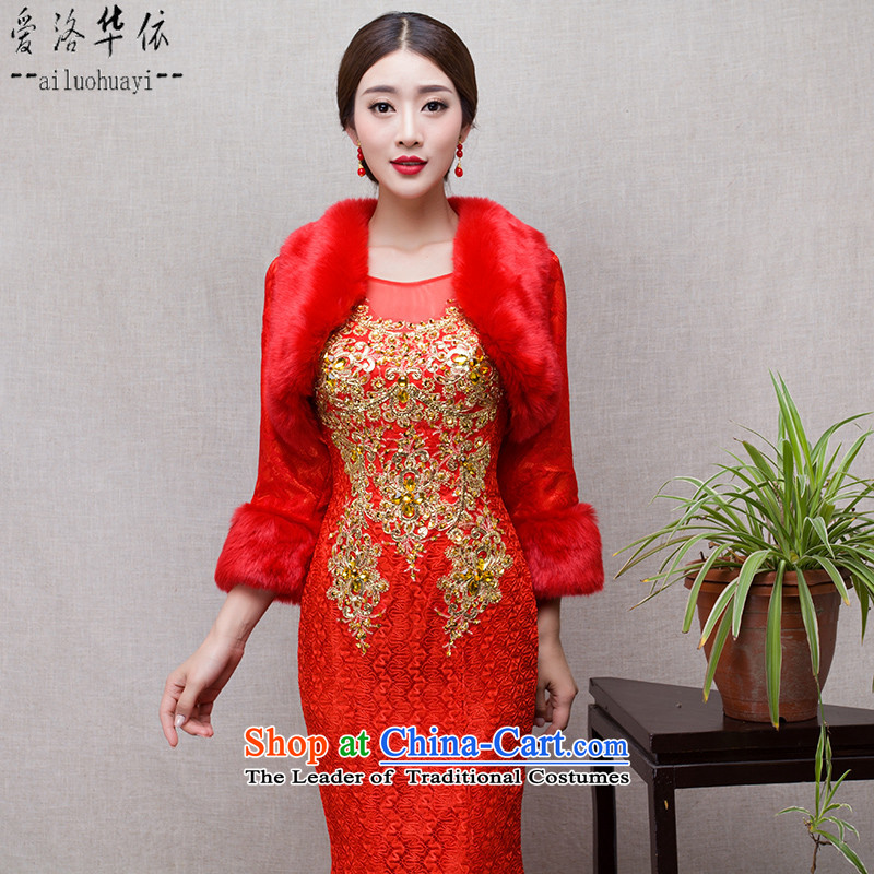 In accordance with the marriage of China love bows services 2015 winter new stylish tail shoulders crowsfoot Sau San red bride dinner gown + gross shawl dress S