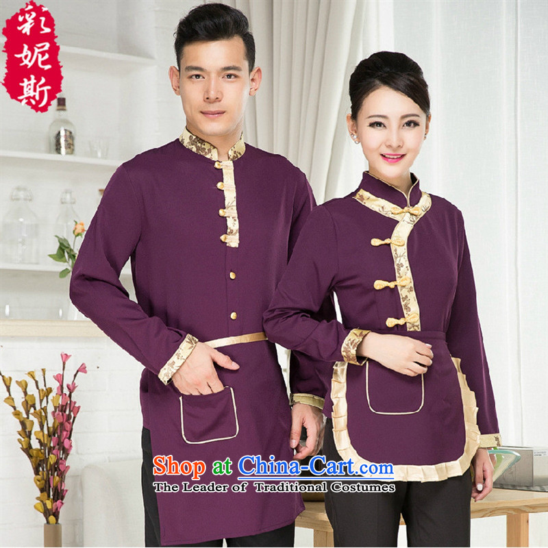 The Black Butterfly Hotel Workwear hotpot restaurant Cafe Professional Wear long-sleeved new product lines for autumn and winter by men and women _red shirts_ XXL