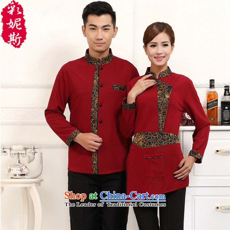 The Black Butterfly Hotel Workwear autumn and winter female attendants in the loaded long-sleeved restaurants at the teahouse attire female red T-shirt + apron_ _XXL