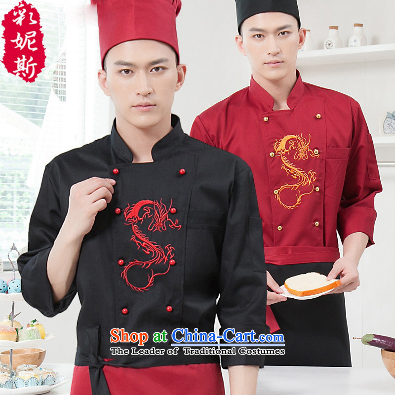 The Black Butterfly 2015 long-sleeved autumn and winter Men Hotel food & beverage hotel chefs workwear chef-black (T-shirt vocational + apron) XXL