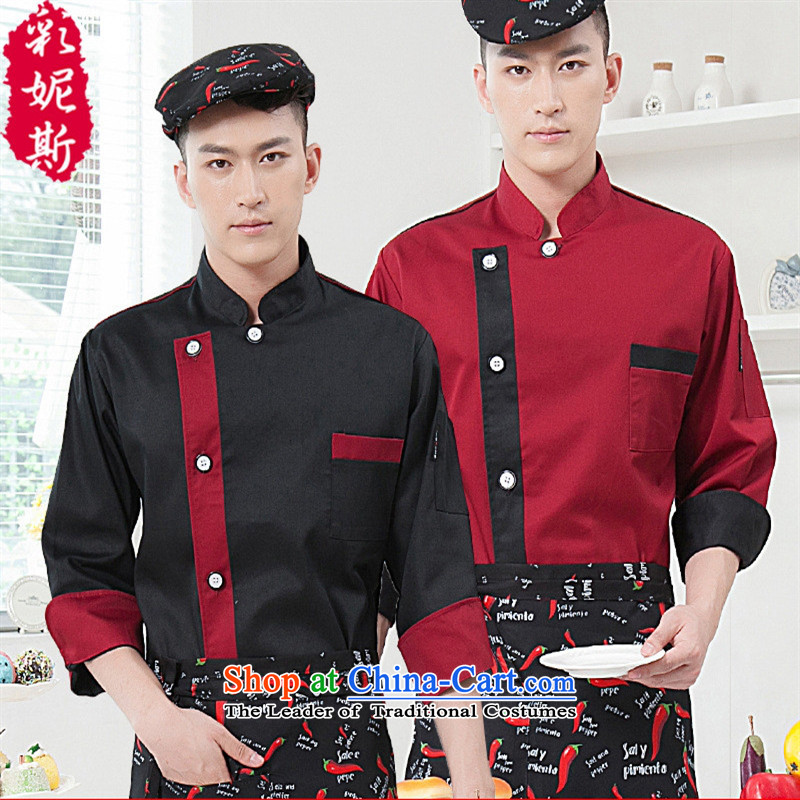The hotel restaurant Black Butterfly chefs serve kitchen workwear 2015 autumn and winter new civilian men and women-pack Black (T-shirt + apron) XL