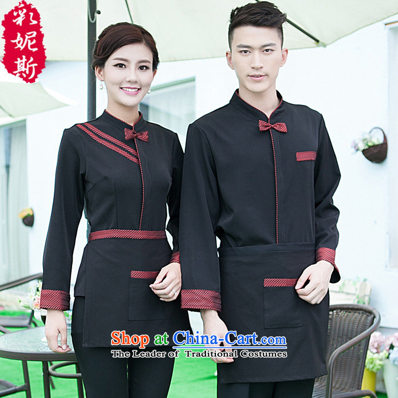 The hotel has coffee shop that black butterfly autumn and winter clothing with long-sleeved men hotel restaurant with Hot Pot Restaurant in men's black T-shirt _red + apron_ XL
