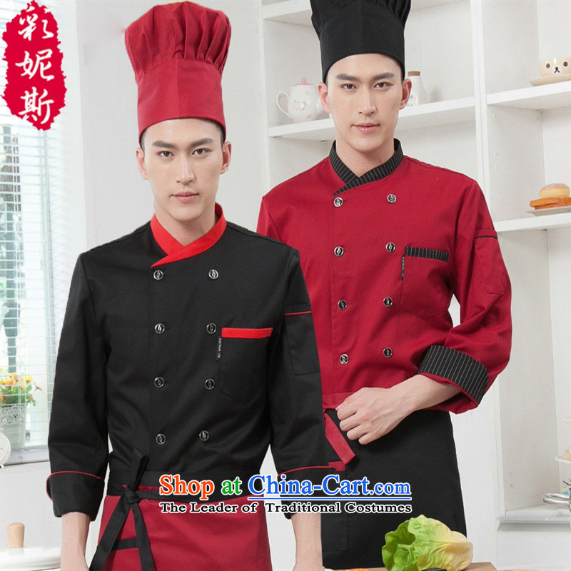 The Black Butterfly men Fall/Winter Collections long-sleeved hotel chefs serve bread pastries, red (T-shirt + Workwear apron) M