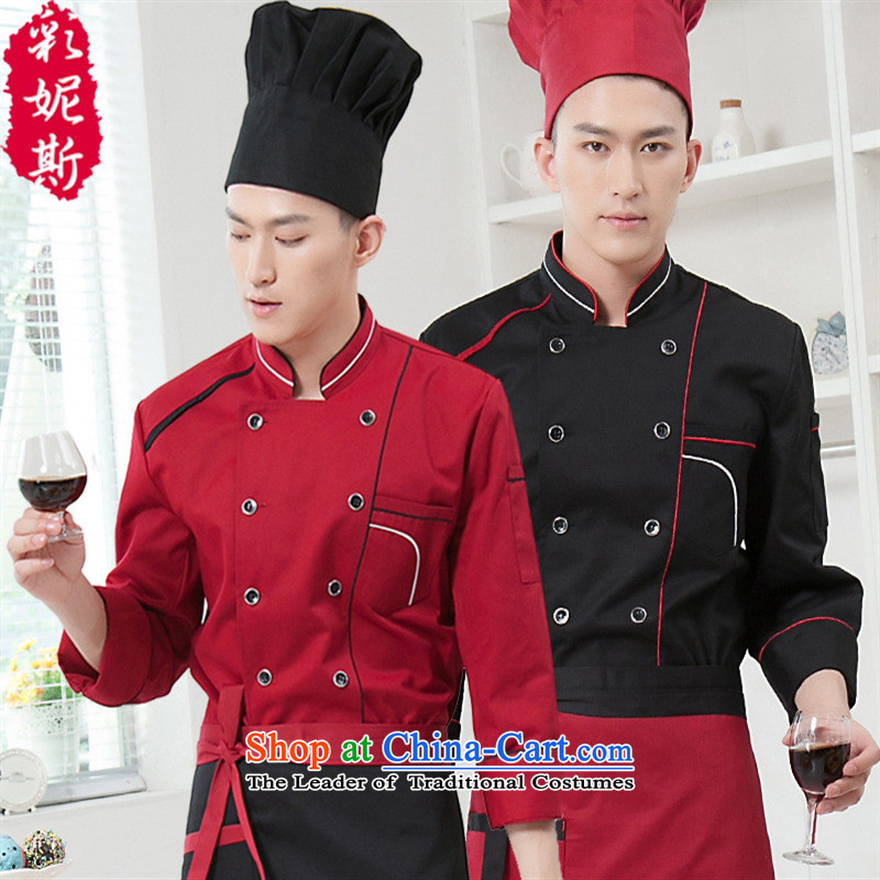 The Black Butterfly Fall_Winter Collections restaurant chef clothing men bakers hotel chef vocational-black after _T-shirt + apron XXXL_