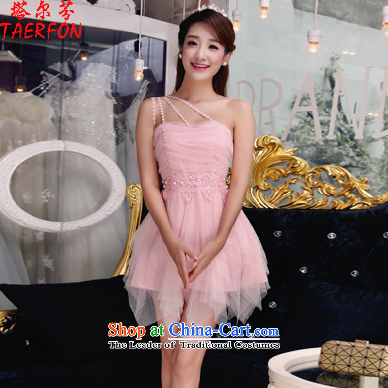 The?2015 autumn fen new temperament Sau San Diamond Pearl of the Staple manually wiping the chest dresses bridesmaid groups dress skirt pink?S