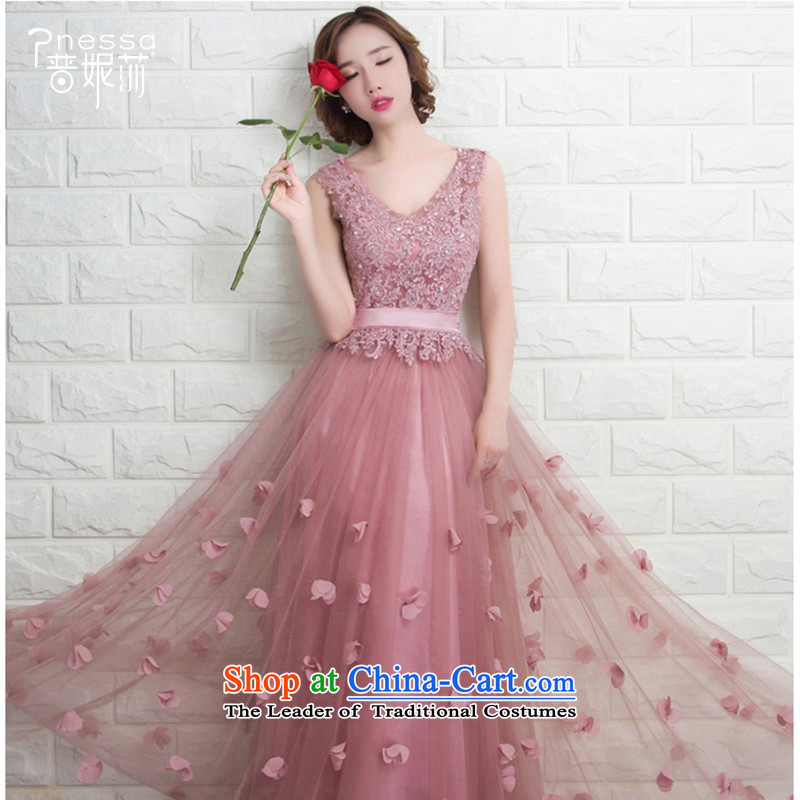 The Republika Srpska divas new 2015 evening dress uniform winter Bridal Fashion bows lace Sau San marriage bridesmaid mission long gown female red bridesmaid dress booking wedding-dress rose red M