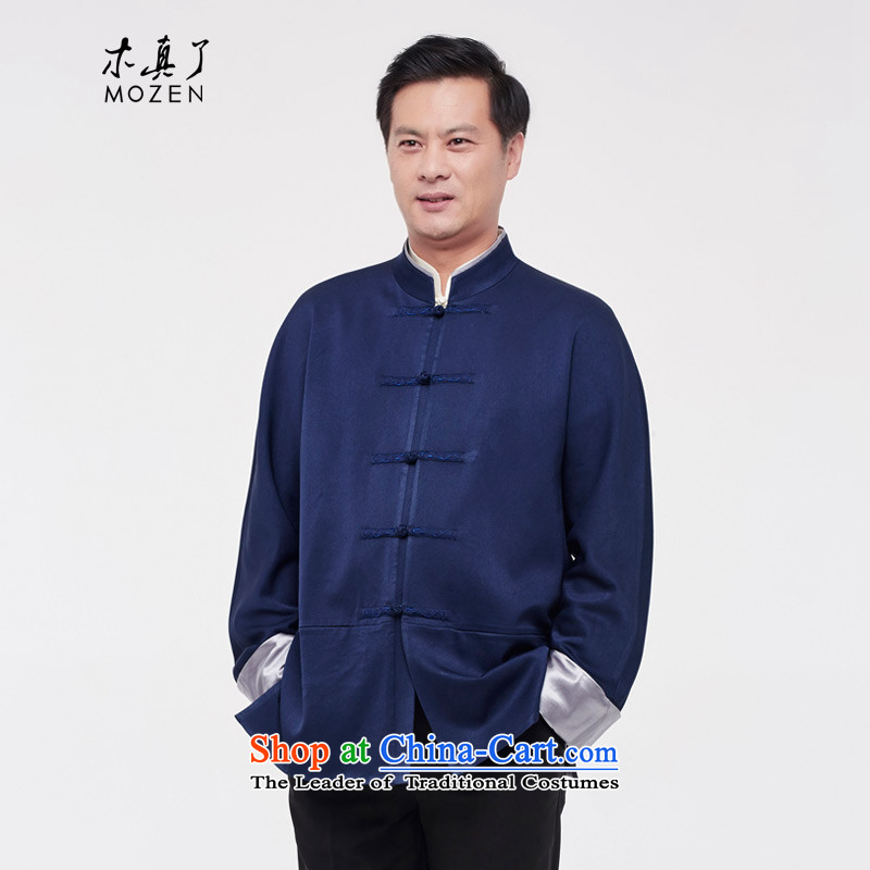 The Tang Dynasty outfits wood really male shirt 2015 autumn and winter new Chinese tunic jacket�02 10 deep blue燲XL