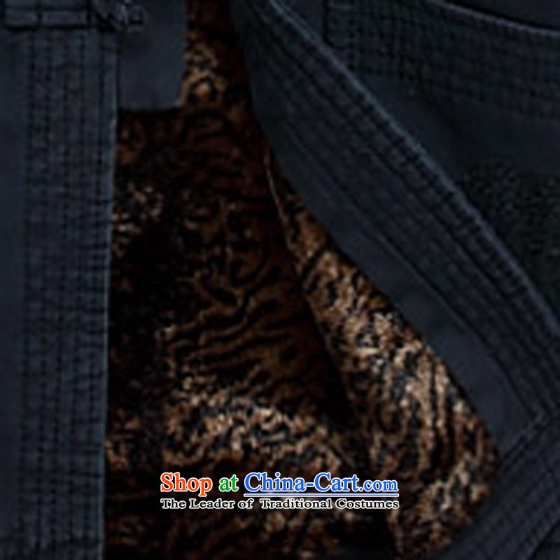 2015 Autumn and Winter New Men Tang dynasty thick sand washing cotton jacket burrs Soo-yong Tang dynasty solid color cotton coat men winter clothing Tang dynasty father older Dark Blue聽M ink-YI (MORE shopping on the Internet has been pressed.
