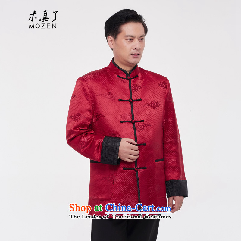 Wooden really with tang blouses 2015 autumn and winter new men?11,688 Chinese tunic 05 RED?M