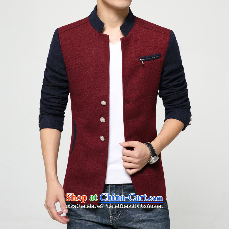 Jch聽autumn new design stitching Men's Mock-Neck Chinese tunic male Korean Sau San Tong replacing small business suit male business leisure suit Chinese tunic wine red聽XL