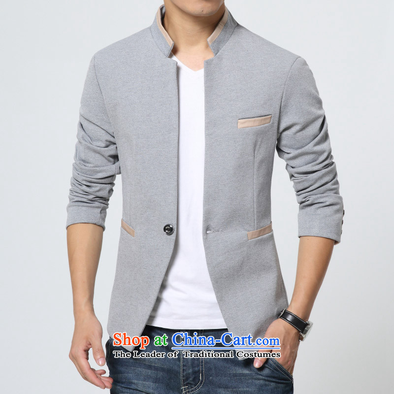 Jch autumn and winter new design Men's Mock-Neck Tang Dynasty Chinese tunic male Korean Sau San Tong replacing small business suit male Chinese tunic suit small light gray?165/80A