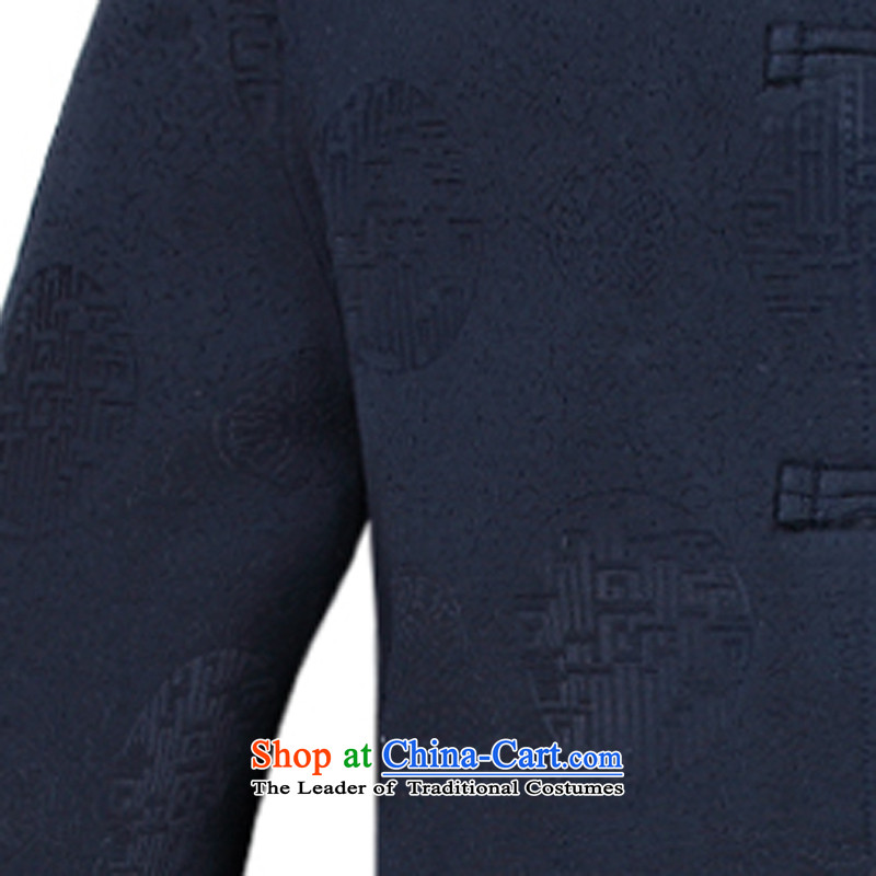 Tang Dynasty and winter clothing in new large older jacket collar disc loading father deep blue-聽XL, ink-YI (MORE shopping on the Internet has been pressed.