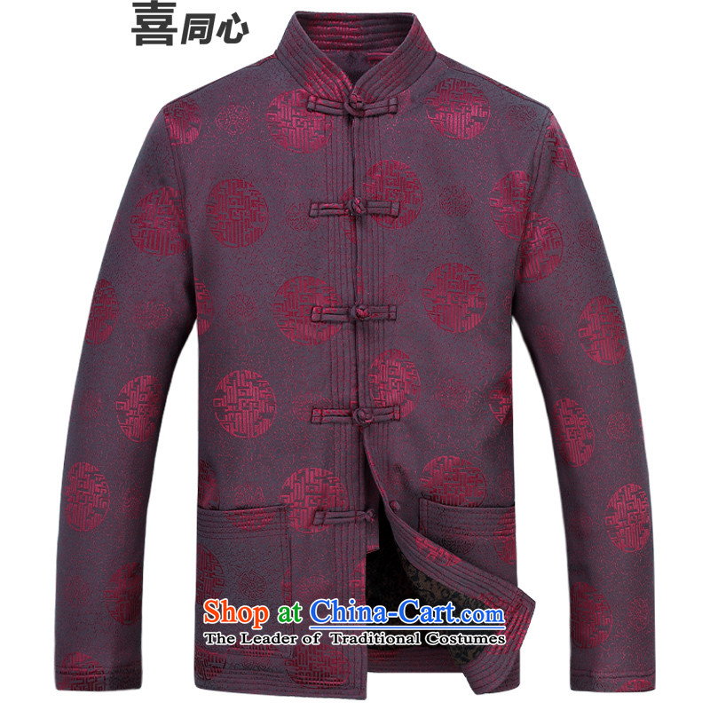 Older persons in the Tang dynasty and long-sleeved top male Tang Jacket coat elderly yi red燲XL