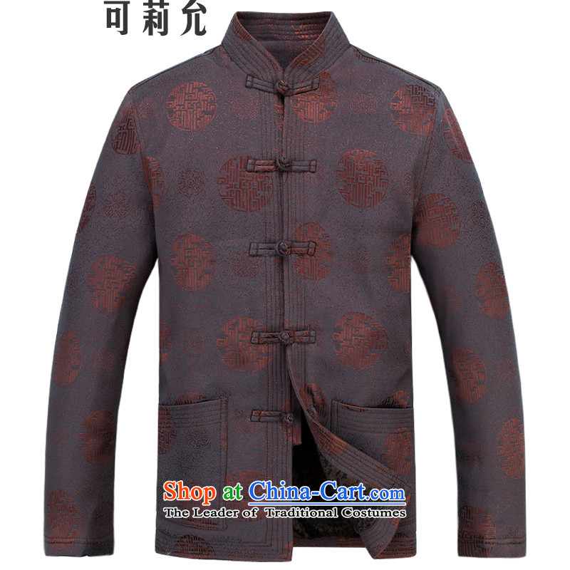 Tang Dynasty and Tang dynasty winter clothing men thick coat of older persons in the leisure jacket Tang Gown long sleeve jacket coffee?XL