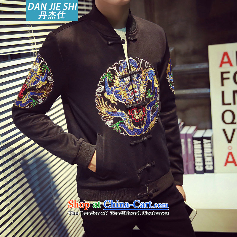 Dan Jie Shi 2015 autumn and winter Tang Dynasty Chinese tunic of ethnic robes of the dragon, the studded retro baseball for male black聽L_110-120 jacket coat catties_