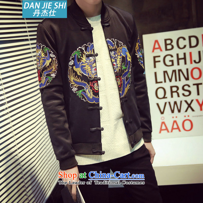 Dan Jie Shi 2015 autumn and winter Tang Dynasty Chinese tunic of ethnic robes of the dragon, the studded retro baseball for male black L(110-120 jacket coat catty, Dan Jie Shi (DANG JIE SHI) , , , shopping on the Internet