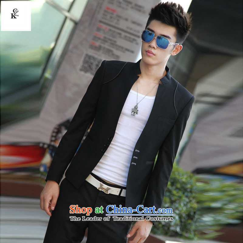 燦ew Spring and Autumn keling caling Korean small business suit Male Sau San Uk business and leisure suit male jacket for winter燲XXL black