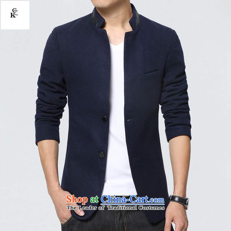 燭he fall of new caling keling Men's Jackets Korean small business suit Sau San Mock-neck Chinese tunic gross flows of winter jackets casual about new products blue燲L