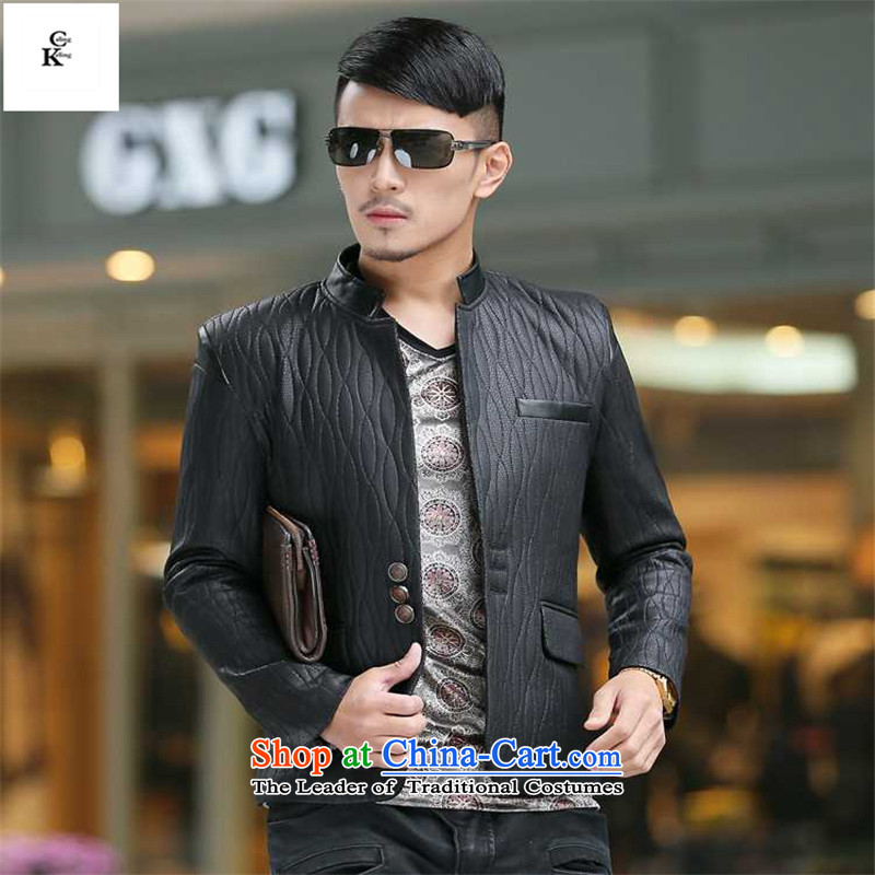 Caling keling2015 boutique autumn and winter men thick leather garments Chinese tunic temperament high-end xl business men and jacket map color燲XL