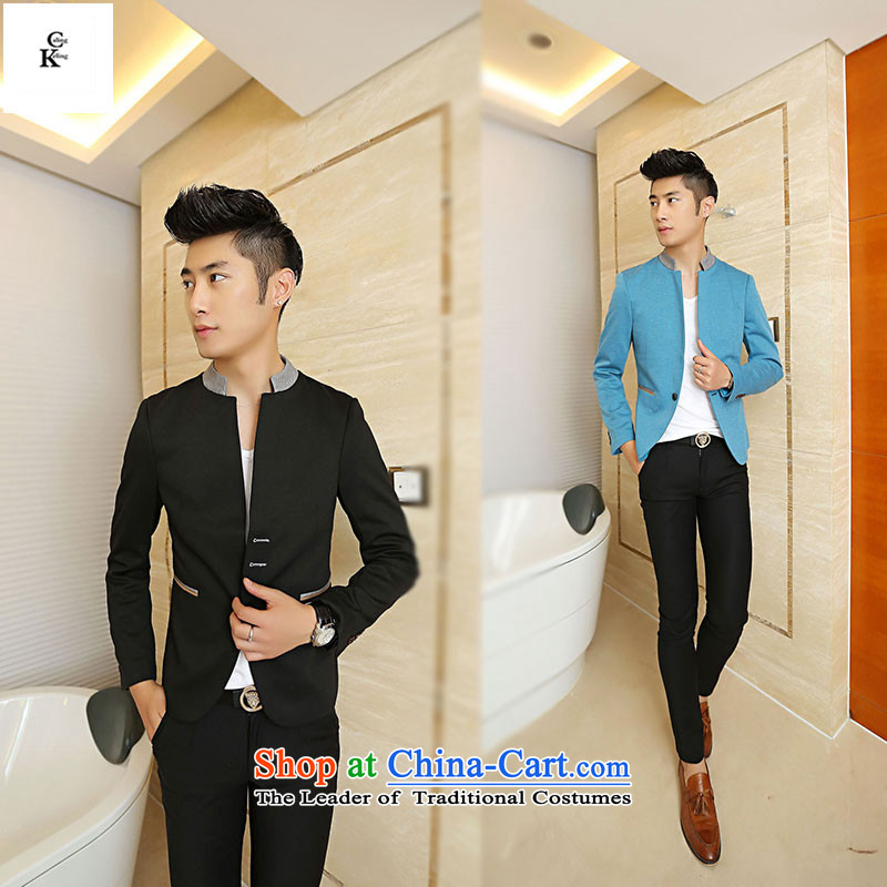 聽The Fall of man caling keling small business suit Korean male leisure suit for Sau San Youth England hit a light jacket coat male and business color blue聽XXL