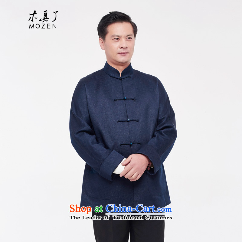 The shirt really wooden men loaded 2015 autumn and winter new ethnic Chinese tunic?0905 10 deep blue?XL