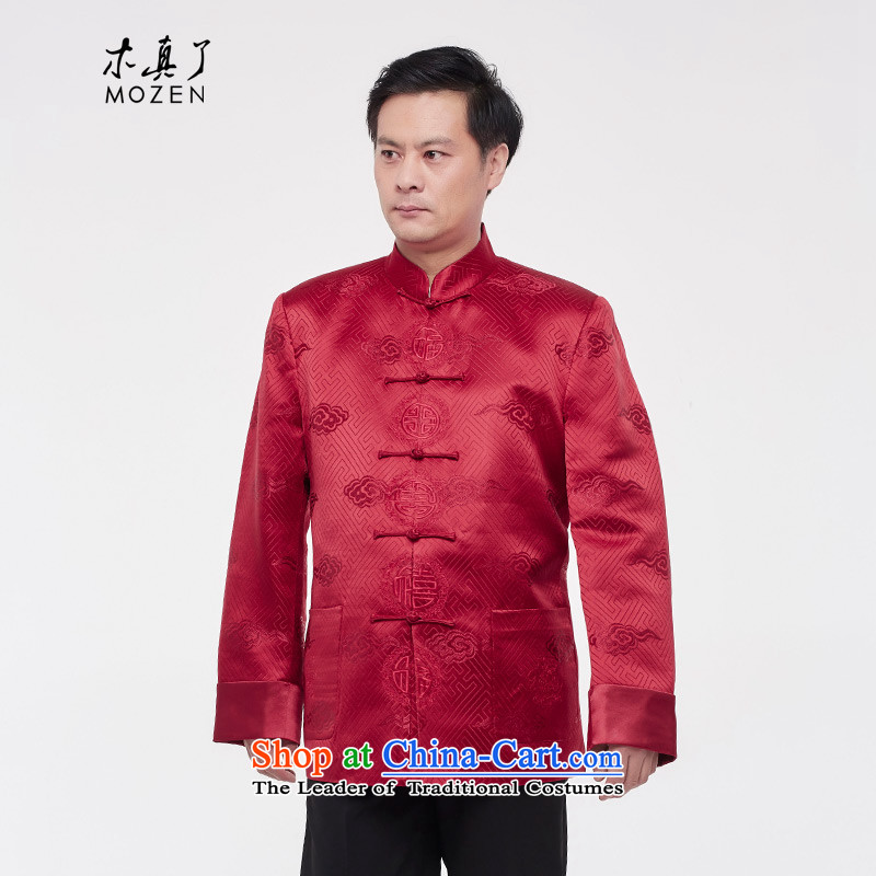 The shirt really wooden men Tang dynasty 2015 autumn and winter New Silk Chinese tunic�202 04 deep red燲XXL