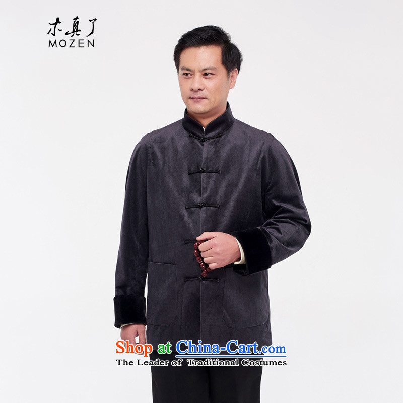 The Tang Dynasty outfits wood really male shirt 2015 autumn and winter new ethnic Chinese tunic men even rotator cuff 432.6 01 black�XXXL Jacket