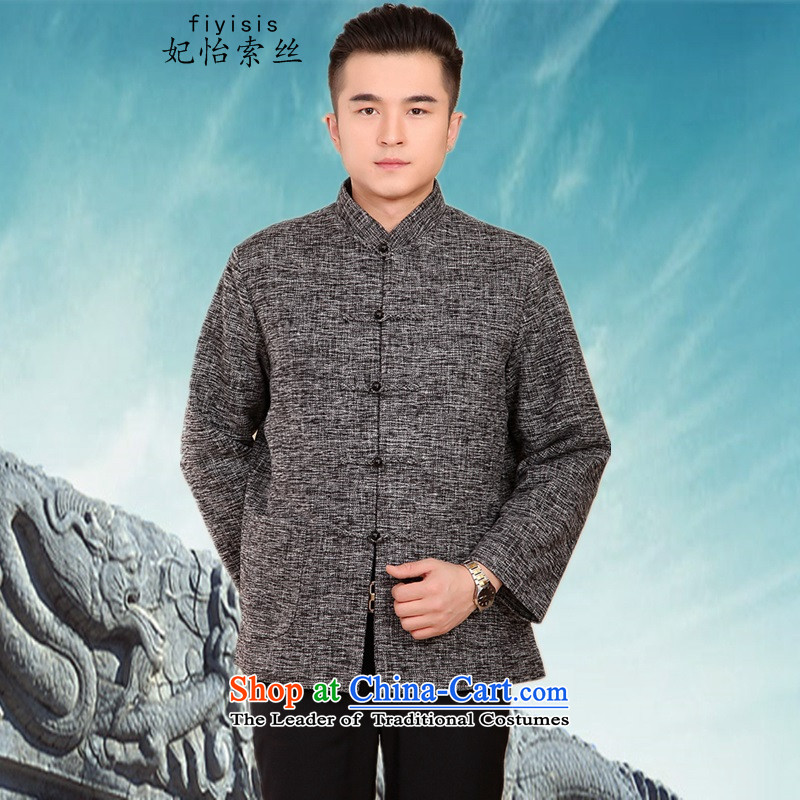 Princess Selina Chow _fiyisis_ of autumn and winter men in older thick jacket Tang dynasty long-sleeved loose cotton coat dad large Chinese shirt Han-Ma Tei聽XXL_180 Gray