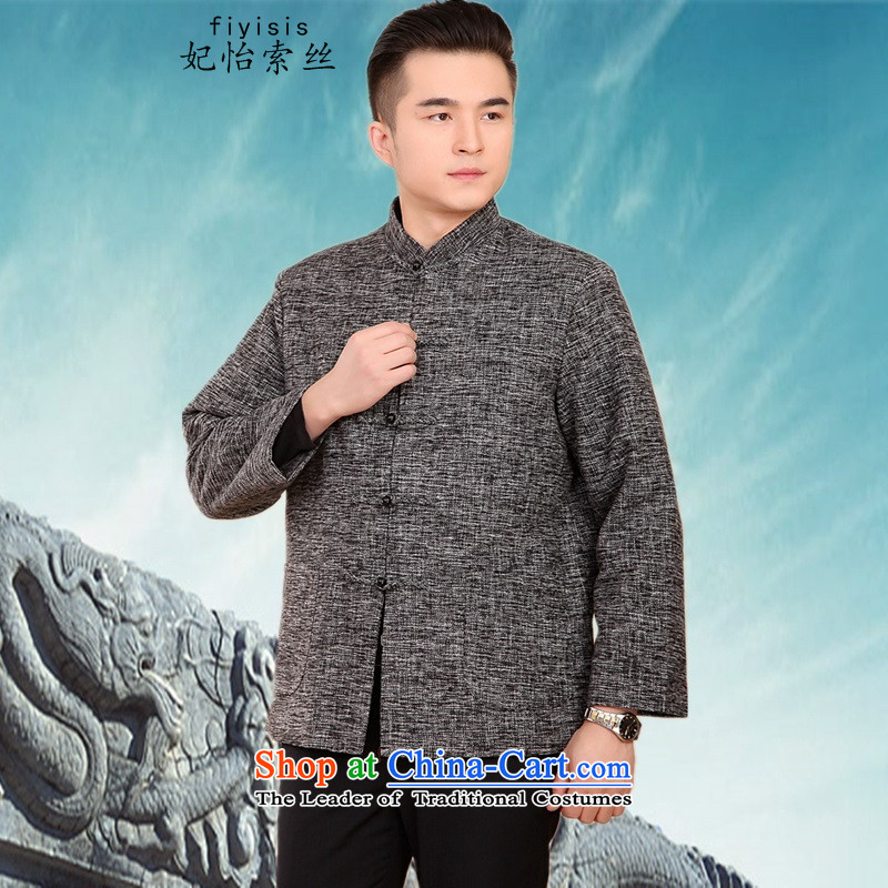 Princess Selina Chow (fiyisis) of autumn and winter men in older thick jacket Tang dynasty long-sleeved loose cotton coat dad large Chinese shirt Han-ma gray聽XXL/180, Princess Selina Chow (fiyisis) , , , shopping on the Internet