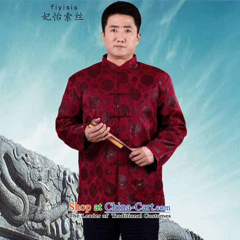 Princess Selina Chow (fiyisis). Older men new long-sleeved shirt Tang Dynasty Chinese middle-aged men's father grandfather of autumn and winter coats collar ����XL/175 red