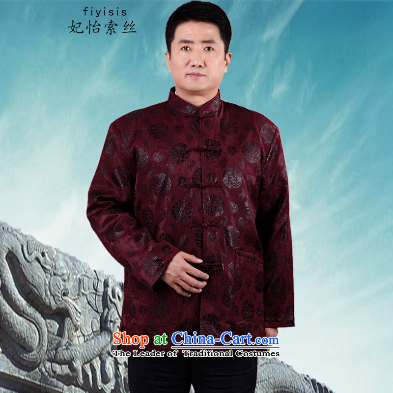 Princess Selina Chow _fiyisis_. Older men new long-sleeved shirt Tang Dynasty Chinese middle-aged men's father grandfather of autumn and winter coats collar 泾蜮燲XL_180 aubergine