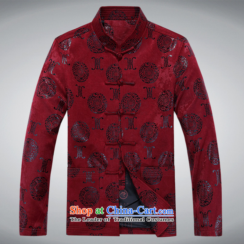 Tang dynasty men Fall/Winter Collections Tang dynasty men jacket of older persons in the leisure jacket Tang dynasty long-sleeved jacket red T-shirt dark red L