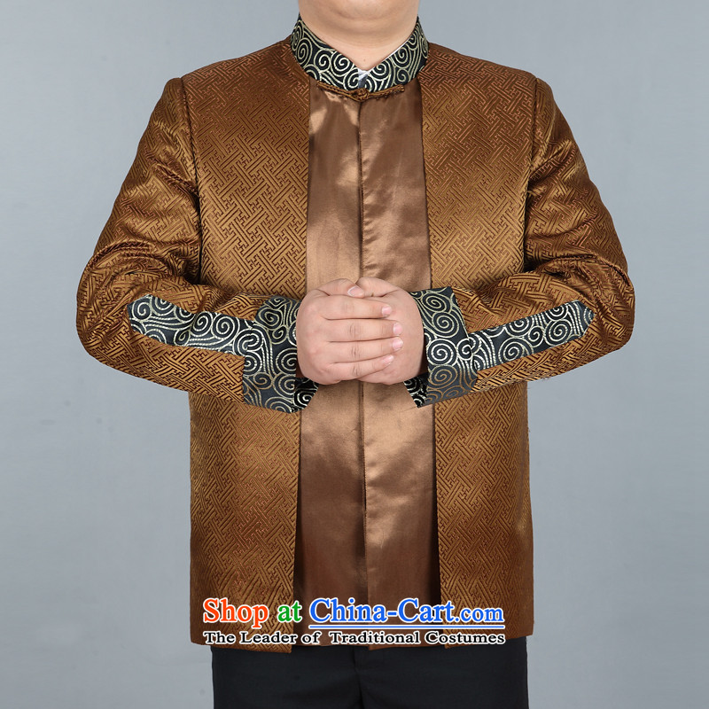 In elderly men jacket coat collar middle-aged man Tang dynasty silk Tang casual jackets gold燲XL Dad