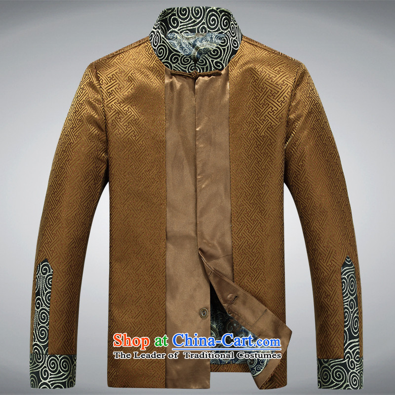 In elderly men jacket coat collar middle-aged man Tang dynasty silk Tang casual jackets gold聽XXL, father-hi concentric , , , shopping on the Internet