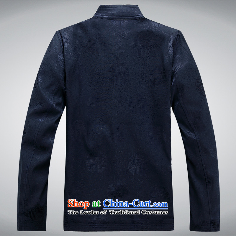The autumn and winter, Tang dynasty men's China wind long-sleeved father in older kit dark blue T-shirt S